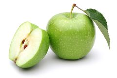 Free Granny Smith Apple With Slice And Leaf Isolated Stock Image - 141174781