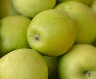 Granny smith apples fresh full frame. Healthy eating background. Many juicy green apples, health and nutrition concept. Granny smith apples fresh full frame royalty free stock image
