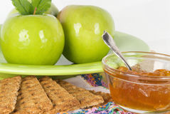 Granny Smith Apples with Graham Crackers and Jelly Royalty Free Stock Photography