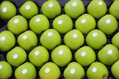 Granny smith apples. Green Granny Smith Apples in crate Stock Photos