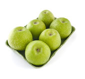 Granny Smith apples in a tray on a white background. Royalty Free Stock Image