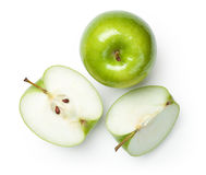 Granny Smith Apples on White. Fresh granny smith apples on white background. Top view royalty free stock photography