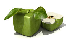 Granny Smith cubic apple and a half Royalty Free Stock Images