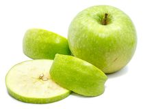 Apple Granny Smith. Granny Smith, one whole apple, one circle and two slices, isolated on white background Stock Image