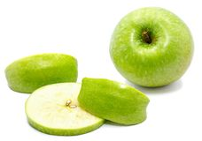 Apple Granny Smith. Granny Smith, one whole apple, one circle and two slices, isolated on white background Royalty Free Stock Images