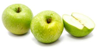 Apple Granny Smith. Granny Smith two apples, one half, isolated on white background Stock Photos