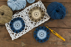 Granny square crochet motifs Stock Photography