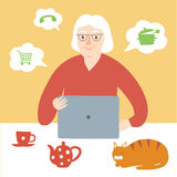 Granny using internet. Lovely cartoon old lady using internet on laptop. Vector illustration for your design Stock Photo