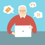 Granny using internet. Lovely cartoon old man using internet on laptop. Vector illustration for your design Royalty Free Stock Photography