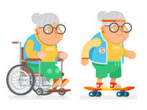 Granny Wheelchair Sports Healthy Active Lifestyle Age Skating Old Lady Character Cartoon Flat Design Vector illustration. Granny Wheelchair Sports Healthy Active Royalty Free Stock Photo