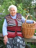 Granny With Basket Stock Images