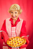 Grannys huis-Gebakken Cherry Pie stock foto