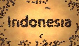 Grano de café de Indonesia en el papel viejo stock de ilustración
