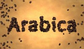 Grano de café del Arabica en el papel viejo Imagen de archivo