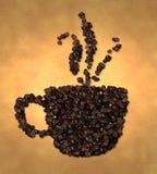 Grano de café del icono del vapor de la taza en el papel viejo ilustración del vector