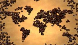 Grano de café del mapa del mundo en el papel viejo Imagen de archivo