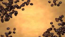 Grano de café en el papel viejo stock de ilustración