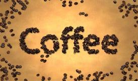 Grano de café en el papel viejo Imágenes de archivo libres de regalías