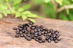 Grano de café en los pisos de madera Imágenes de archivo libres de regalías