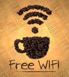 Grano de café libre del icono de la taza de WiFi en el papel viejo Imagen de archivo libre de regalías