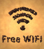 Grano de café libre del icono de Wifi en el papel viejo Fotografía de archivo