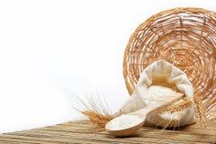 Grano de la harina y del trigo con la cuchara de madera. Fotos de archivo libres de regalías