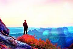 Grano de la película Hombre alto en negro en el acantilado con el arbusto del brezo Las montañas rocosas agudas punto parquean y  Imagen de archivo libre de regalías