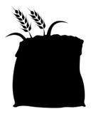 Grano del riso nell'icona della siluetta del sacco Fotografia Stock Libera da Diritti