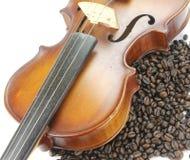 Grano del violín y de café en la tierra de la parte posterior del blanco imagenes de archivo