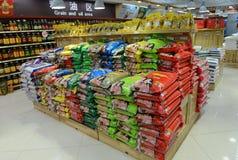 Grano ed olio nel supermercato Fotografia Stock Libera da Diritti