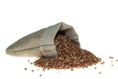 Grano saraceno in borsa di tela Fotografia Stock