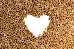 Grano saraceno con forma del cuore Fotografie Stock Libere da Diritti