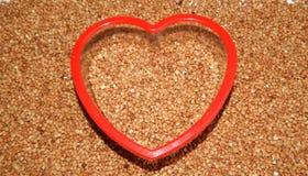 Grano saraceno del fondo, grano saraceno, grano del grano saraceno Immagine Stock