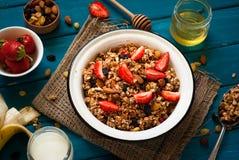 Granola και συστατικά στοκ φωτογραφία με δικαίωμα ελεύθερης χρήσης