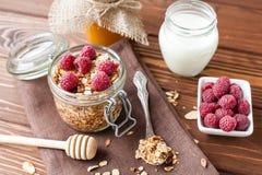 Granola με τις νιφάδες και τα φρούτα βρωμών Στοκ Φωτογραφίες