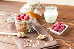 Granola με τις νιφάδες και τα φρούτα βρωμών Στοκ φωτογραφία με δικαίωμα ελεύθερης χρήσης