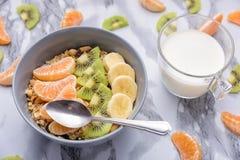 Granola здорового завтрака установленный с tangerines Стоковые Изображения RF