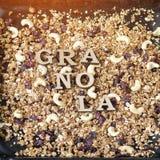Granola надписи, текстура Конец-вверх Стоковое Изображение RF