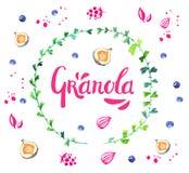 Granola помечая буквами розовый логотип для того чтобы конструировать в круге акварели хворостин с смоквами, голубиками и семенам иллюстрация штока
