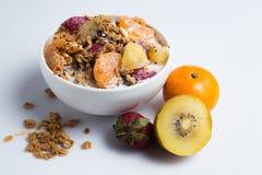 Granola с фруктовым салатом на белизне Стоковое фото RF