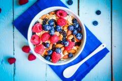 Granola с ягодами и миндалинами в шаре Стоковые Фото