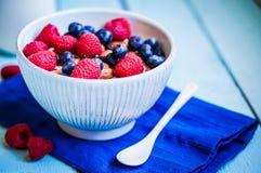 Granola с ягодами и миндалинами в шаре Стоковая Фотография RF