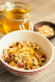 Granola with almonds, goji berry and peanuts in a jar Stock Image