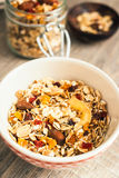 Granola with almonds, goji berry and peanuts in a jar Royalty Free Stock Image