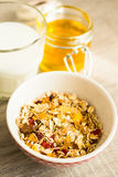Granola with almonds, goji berry and peanuts in a jar Stock Photos