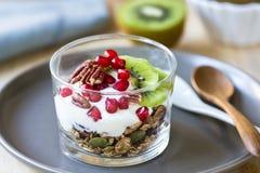 Granola avec du yaourt, le kiwi et la grenade grecs images stock