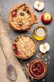 Granola, bacche secche, dadi, mele e miele Immagine Stock Libera da Diritti