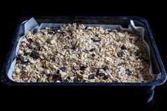 Granola in a baking tray from side Royalty Free Stock Images