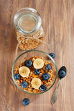 Granola with banana and blueberry Royalty Free Stock Photography