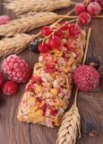 Granola bar and berries Stock Image